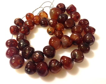 """Carnelian Nuggets 10-20mm 19"""" 39 pieces"""