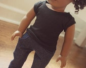Bootcut Jeans - Navy Stitching - American Girl Doll Clothes