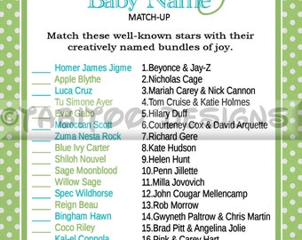 Celebrity Baby Name Match Up Game - Baby Shower - PRINTABLE