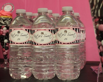 Personalized Hot Pink and Zebra Print Water Bottle Labels