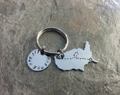 Long Distance US State Love Hand Stamped Keychain