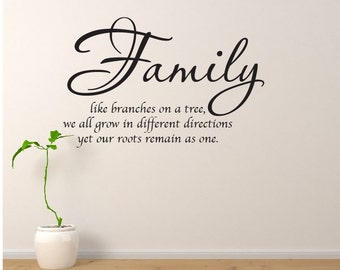 "Family Wall Decal Family Like Branches On A Tree Wall Quote 20""x30"" Vinyl Wall Quote Wall Decal Home Decor Vinyl Lettering"