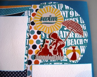 """Sun, Relax, Hanging Out   -  Handmade 12"""" x 12"""" Double Page Scrapbook pages"""