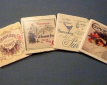 Stone Coasters - French Perfume ads -Tumbled Marble Coasters - set of 4 marble coasters -Vintage Cosmopolitan Cover - French Coasters