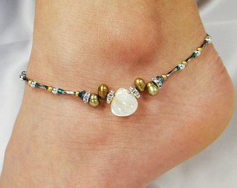 Anklet, Ankle Bracelet Ivory Mother Of Pearl Teardrop, Brown Freshwater Pearls, Teal Blue Swarovski Crystals, Vacation, Beach, Cruise