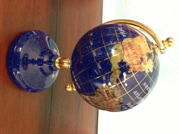 small lapis and semi precious gemstone desktop globe by