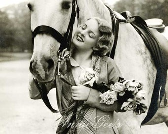 Equestrian Girl and Horse Photo - Instant Digital Download Photo Postcard D190A