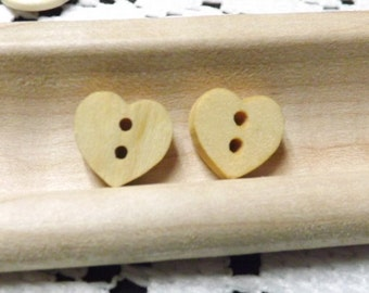 Wood heart button 10 wooden heart buttons wood 2 hole heart buttons wooden hearts wooden heart charms