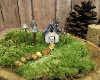 Miniature Clay House -  3  Glow in the Dark Mushrooms - miniature  lantern - Terrarium decor - Miniature fairy house. Handmade by Gypsy Raku