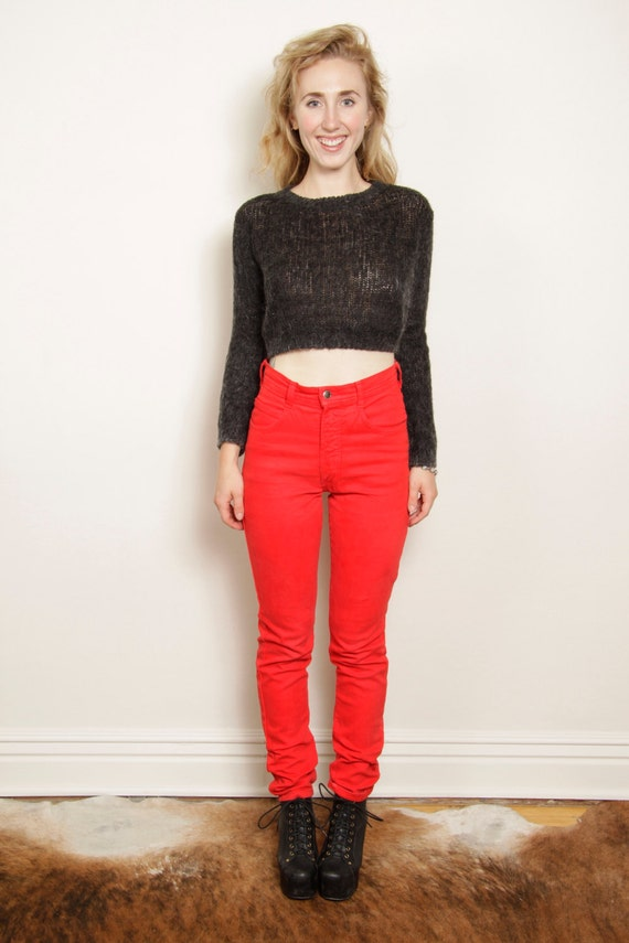 Items similar to 80s High Waisted PARASUCO Red Jeans 27 on Etsy