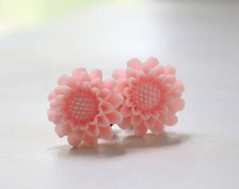 Flower Plugs Light Pink Custom Size 2 0 00 Gauges for Stretched Ears Vintage Inspired Piercing 2g 0g 00g