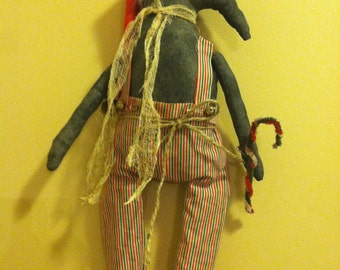 Primitive Handmade Christmas Santa Crow with Candy Cane and Bells