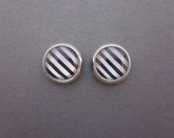 Black and White Stripes Stud Earrings with Silver Rim