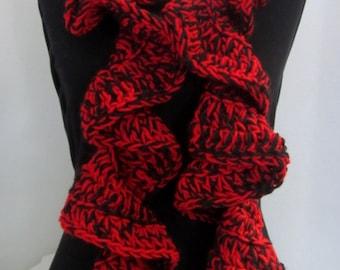 Crochet Scarf Ruffle! Red and Black Ruffle Scarf, Crochet Ruffle Scarf, Hand Crochet Scarf, Chunky Crochet Scarf, Football Team Scarf