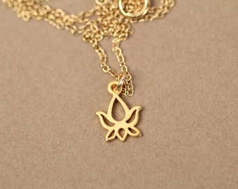 Yoga necklace, tiny gold lotus necklace, flower necklace