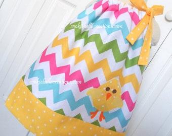 Easter Chick Rainbow Chevron Pillowcase Dress 6m-4T