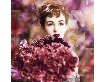 Mulberry retro goddess, digital print, photomontage, digital art, fine art print, vintage print, 30 s fashion, modern art, home decor