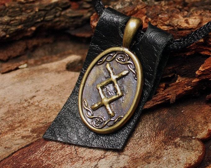 Bronze Inguz Ingwaz Yngvi Rune Yggdrasil Viking Amulet Runic Nordic Pendant Talisman Necklace