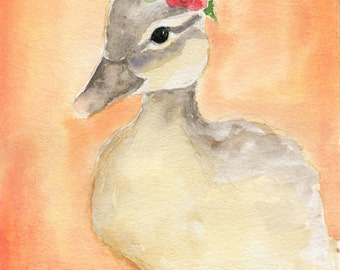 Duck Painting - Buttercup - Nursery Art - bird watercolor - duckling print - nursery watercolor