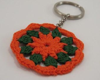 Lacy Orange and Green Circle Keychain - Crochet Motif Keyring - Circle Crochet Motif - Tiny Crochet Keychain - Doily Keychain