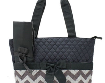 Personalized Dark Grey Chevron Zig Zag Diaper Bag with Changing Pad   Zig Zag Diaper Tote  Chevron Quilted Diaper Bag
