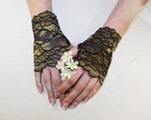 Black Gold Lace Gloves  Bridal Gloves Black Lace Fingerless Gloves Black Stretch Lace