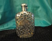 Victorian Sterling Silver Flask, Antique silver overlay whiskey flask, beautiful overly