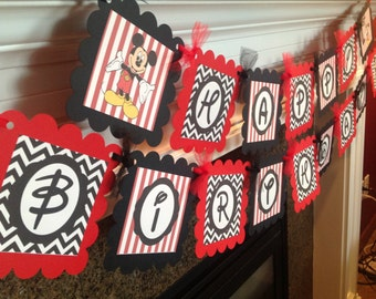 Happy Birthday Mickey Mouse Banner - Red Black Chevron - Matching Party Parks Available