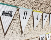 "Vintage Train Birthday Party - Custom ""Happy Birthday"" Banner - DIY Printable PDF files"