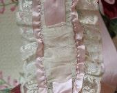 Vintage 1920s Silk ROSETTE Lace Flapper Bandeau Headband Headpiece Ribbon Roses Rosettes Lace Ruffles Excellent Condition Flapper Lingerie