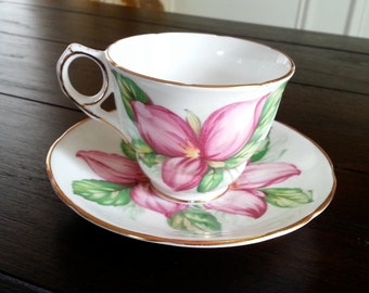 Antique Royal Stafford Pink Trillium tea cup and saucer tea set