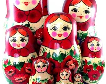 Nesting Dolls 12 pcs Matryoshka Russian Babushka doll set Stacking Wooden Handmade birthday christmas gift Suvenirnaya