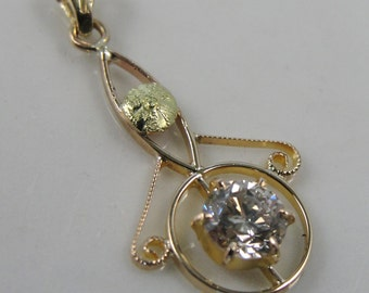 Art Nouveau Lavalier Pendant with Fine Diamond Center, Green Gold PJVC00-D