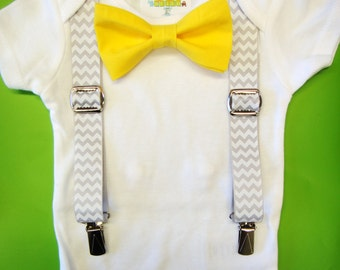 Baby Boy Clothes - Yellow Bow Tie Baby Outfit - Suspenders & Bow Tie Bodysuit - Baby Tuxedo - Grey Chevron Suspenders - Interchangeable