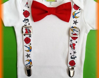 Rockabilly Baby Clothes - Rockabilly Baby Boy Outfit -  Tattoo Baby Outfit - Punk Rock Baby Outfit - Punk Baby Boy Clothes