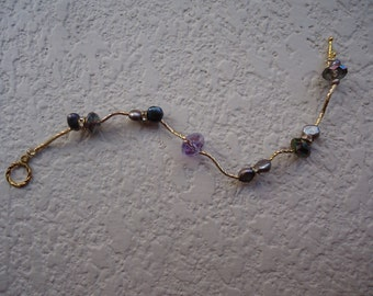 JUST REDUCED Gold Purple Handmade bracelet,  Purple MOP and Crystals Bracelet, Chic bracelets, Handmade Jewelry