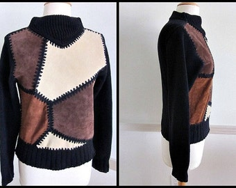SUEDE Colorblock Sweater / fits S / Vintage 80s 1980s / made in Hong Kong for Rotelli /Vintage Suede Sweater / Vintage Color Block Sweater