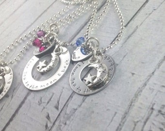 Personalized hand stamped I love you to the moon and back mother daughters necklaces