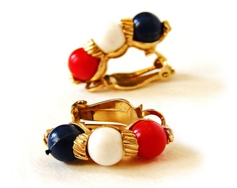 Vintage MARVELLA Cohiba Red White Blue Navy Clip on Earrings Gold tone Jewelry Retro Unique Fashion Style America Fourth 4th of July Trendy