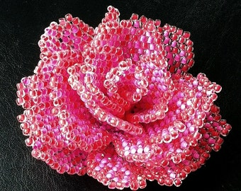 Pattern with photos for peyote beaded rose - how to bead a rose - artisan rose for advanced beaders