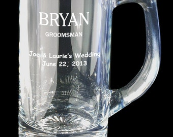 Engraved Beer Mugs 25 ounce Set of 8 for Groomsmen
