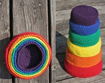 Crochet Nesting Bowls in Rainbow (Set of 6)