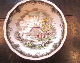 SALE:  Rare Ironstone Bowl Kensington England R2815 - Autumn Shakespeares Sonnets Serving Bowl  Cottage & Castle Vegetable Bowl - Christmas