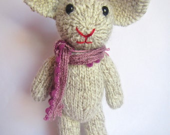 Soft White Hand Knitted Rabbit with Purple Scarf.