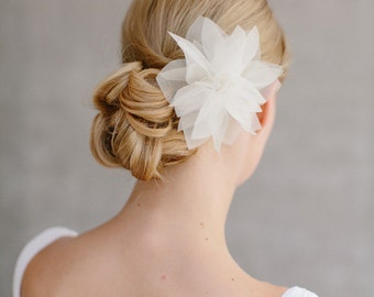 "Bridal Silk Flower, Wedding Hair Flower, Headpiece - ""Violetta"""