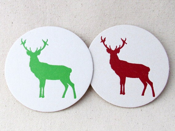 Letterpress Christmas Deer Coasters - Set of 12 - Red and Green Holiday Coasters, Hostess gift, Ready to Ship