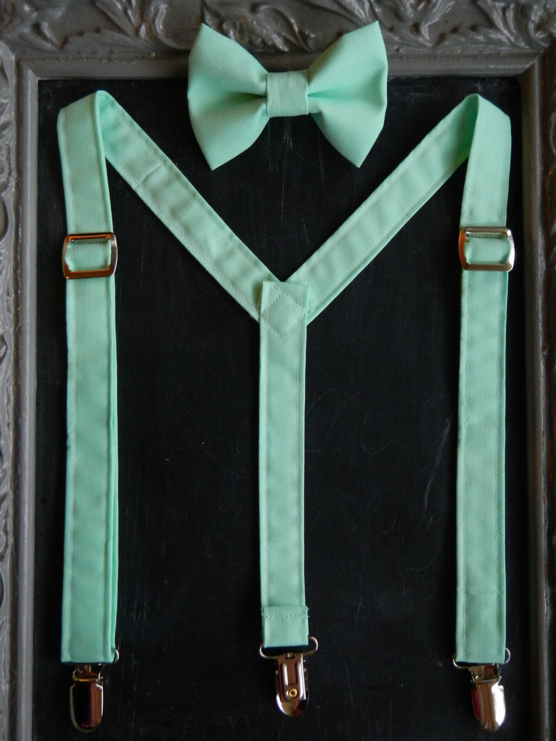 suspenders bow tie set mint green