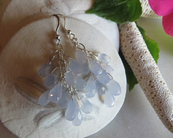 Blue chalcedony earrings, Sterling silver earrings, Dangle earrings, Faceted earrings, Cluster earrings, Drop earrings, Blue earrings
