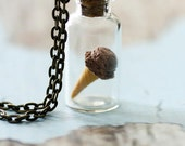 Chocolate Ice-Cream Necklace. Miniature Food Jewellery Jewelry.