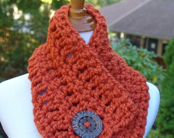 READY TO SHIP: Chunky Crochet Short Cowl Scarf with Big Wood Button - Wool Blend Scarf for Women in Pumpkin Orange